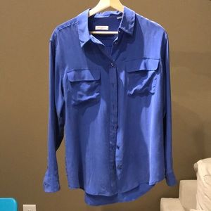Equipment Blue Silk Shirt Size M.